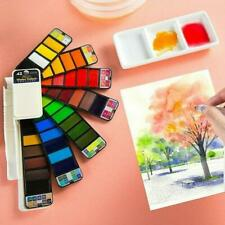 Portable Whirl Solid Watercolor Pigment Paint Set With Water brush Bright Color~