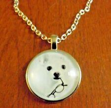 collier argenté 51 cm avec pendentif chien chihuahua