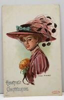 Heartiest  Congratulations Pretty Lady Large Hat Earl Christy 1908 Postcard G13