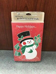 Vintage Sealed Hallmark Snowman Christmas Party Invitations, 8 pack, Frosty Xmas