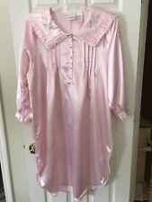 Intimate Moods Women's Pink Embroidered Night Slip Gown Sleepwear Size Medium