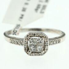 Estate Womens 14k White Gold Genuine Princess Cut Diamond Ladys Engagement Ring