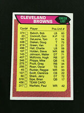 1976 CLEVELAND BROWNS TEAM CHECKLIST UNMARKED TOPPS FOOTBALL CARD