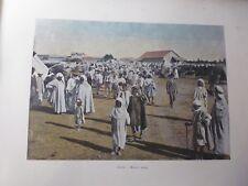 ALGERIE/Gravure 19°in folio couleur/ Marché Arabe