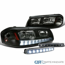 Chevy 00-05 Impala Black LED Strip Headlights+8-LED Fog Lights Bumper Lamps