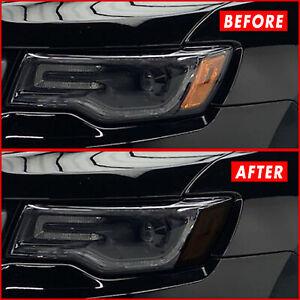 FOR 14-21 Jeep Grand Cherokee Headlight Side Marker SMOKE Vinyl Tint Overlays