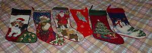 Lot of 6 Vintage Needlepoint Holiday Christmas Stockings