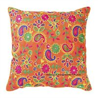 "16"" Silk Cushion Cover Indian Paisley Embroidered Bohemian Decor Throw Pillow"