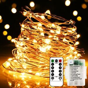 Fairy Lights Battery Powered Remote LED Party String Light Silver Wire 10M100LED