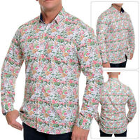 Men's Floral Printed Shirt Casual Dress Vivid 100% Cotton Slim Fit White roll up
