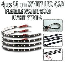 Zone Tech 4x White 30cm 15 LED Car Interior Flexible Waterproof LED Light Strips
