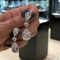 Women Fashion 925 Silver Sapphire Ear Stud Hoop Dangle Earrings Bridal Jewelry