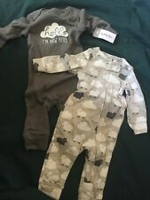 Carter's Footless Baby-little Layette 2-layette Pieces Size 3 Months Color:Greys