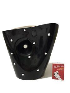 Original Vintage 50s Vase Large Size ,Polka Dots , Barsony Era Black , 50s Retro