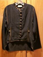 TRIBE A People United Black Weave Button Up Top Jacket  Size Medium ?