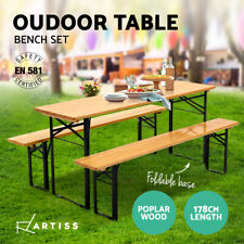 Artiss Wooden Outdoor Table and Bench Set - Natural