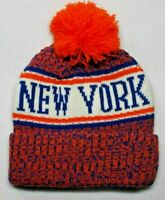 NAME ON BOTH SIDES! New York Mets Team Colors On City Pom Beanie Knit Cap Hat