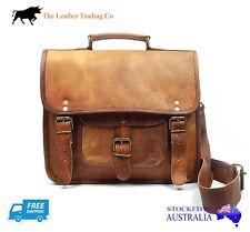 """12"""" Leather Satchel Bag - Old School Unisex - iPad/Tablet/Surface Shoulder Bag"""