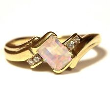 14k yellow gold .08ct SI1 G womens diamond created opal ring 4.6g estate vintage