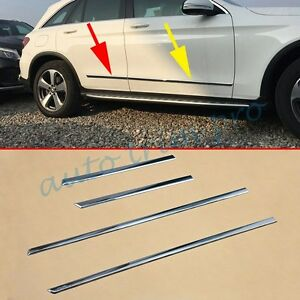 4pcs Chrome Door Side Body Strips Molding Trim For Benz GLC X253 C253 2016-2021