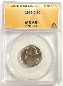 1975-D 5c Jefferson Nickel - ANACS MS 65 **5 STEPS**