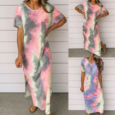 Womens Tie Dye Short Sleeve Long Maxi Dress Summer Split Casual Beach Dresses