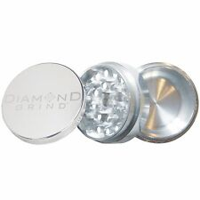 "NEW DIAMOND GRIND 2.50"" Aluminum 3 piece herb Grinder  with storage 63mm SILVER"