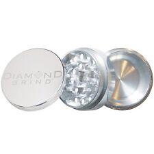 "NEW DIAMOND GRIND 2.50"" Aluminum 3 piece herb Grinder  with storage 63mm SILVER"