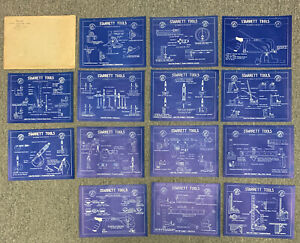"Vintage Starrett Tools Lot of 14 Blueprint Advertising Posters 10""x8"" Shop Class"