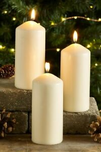 Natural Wax Pillar Candle Chapel Christmas Flickering Burn Time 39 hr Set
