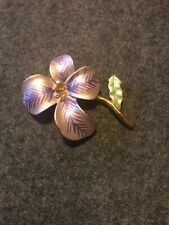 Orchid Pin Brooch Purple, Gold, Green Tone