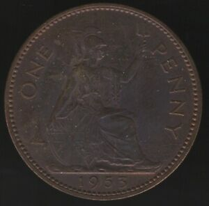 1953 Elizabeth II One Penny Coin   British Coins   Pennies2Pounds