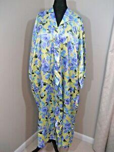 NWT! SERENADA Multicolor Floral Short Sleeve Long Tie Belt Satin Robe 5X 34/36