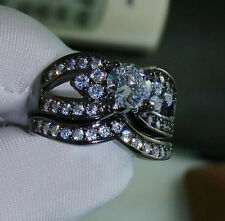 Size 10/T White Sapphire 18K Black Gold Filled Womens Wedding 2-in-1 Ring Set