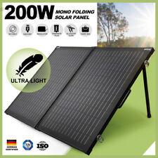 200W 12V Folding Solar Panel Kit Mono Caravan Boat Camping Power Black