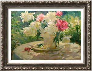 """Hand-painted Original Oil Painting art Floral knife flowers on canvas 24""""x36"""""""