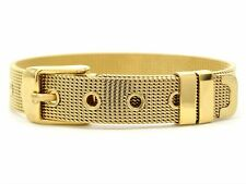 Real 18K yellow gold plated bracelet mesh adjustable with belt buckle purple bag