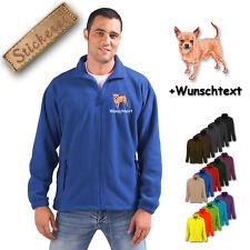 Fleece Jacke bestickt Stickerei Hund Chihuahua M3 + Wunschtext