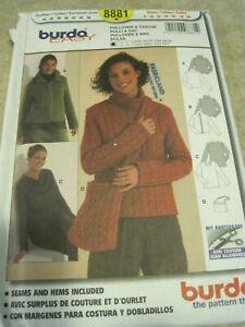 BURDA 8881 LADIES' PULLOVER & BAG Sewing Pattern Sz 34 - 46 UNCUT