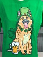 St. Patricks Day Irish German Shepherd Dog Green Clover T-Shirt Large