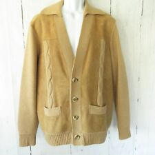Vintage Pierre Sangan Sweater XL 44 Wool Suede Leather Cardigan Grandpa