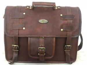 """18"""" Men's Briefcase Satchel Leather 3 Compertment Laptop Messenger Bag Shoulder"""