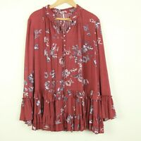 Free People Clover Field Printed Ruffle Trapeze Tunic Red Floral XS Mini Dress