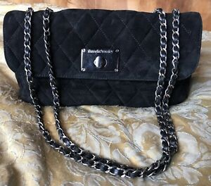 Russell Bromley Black Calf Leather & Suede Quilted Chain Bag