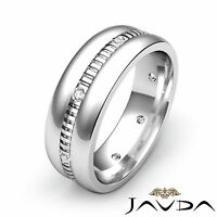 Round Bezel Diamond Mens Eternity Wedding Band 14k White Gold Solid Ring 0.16Ct