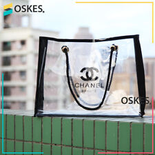 NEW Vip Gift CHANEL plastic bag trousse transparent CC logo Beach bag - Large