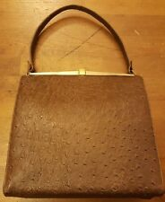 Vintage, 1960s, Brown, Ostrich Leather, Baguette Handbag