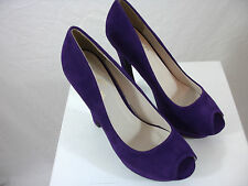 "PURPLE FAUX SUEDE OPEN TOE 6"" HIGH HEELS PUMP SEXY SHOES (sz10)"