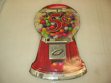 GUMBALL MACHINE GUM 5 Cents Metal Sign Original Retro-Vintage Candy Shop Soda
