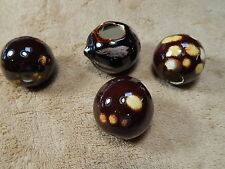 Vintage Ceramic Macrame Beads Brown with Yellow & Gold Spots Lot of 4 Brn A